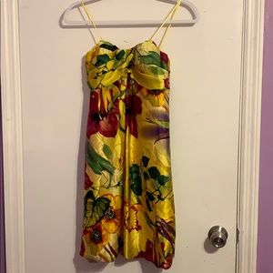 Cache Yellow Floral Strapless Dress Size 4